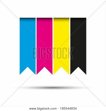 Vector hanging ribbons in cmyk colors with shadows isolated on white background
