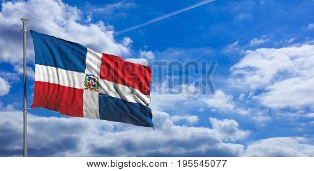 Dominican Republic Waving Flag On Blue Sky. 3D Illustration
