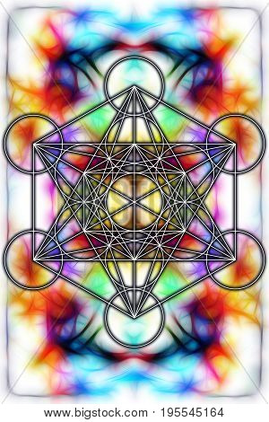 Light merkaba on abstract background and fractal effect. Sacred geometry