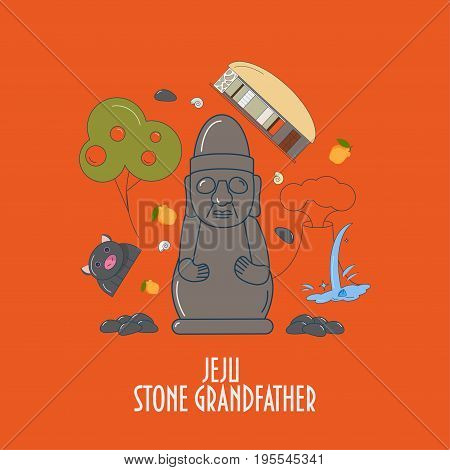 Illustration for Jeju-do island promotion: dol hareubang, also called tol harubang or Jeju Stone Grandfather and different Jeju island symbols. Great as children book illustration.