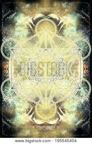 Merkaba and mandala on abstract color background. Sacred geometry