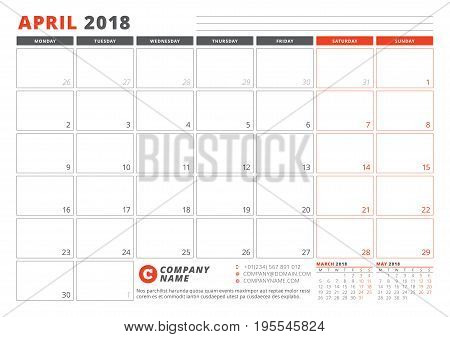 Calendar Template For 2018 Year. April. Business Planner 2018 Template. Stationery Design. Week Star