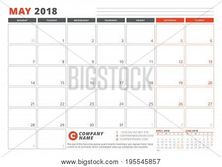 Calendar Template For 2018 Year. May. Business Planner 2018 Template. Stationery Design. Week Starts