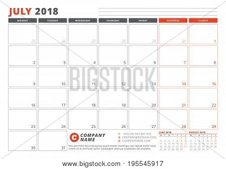 Calendar Template For 2018 Year. July. Business Planner 2018 Template. Stationery Design. Week Start