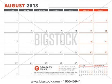Calendar Template For 2018 Year. August. Business Planner 2018 Template. Stationery Design. Week Sta