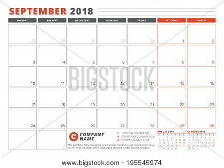 Calendar Template For 2018 Year. September. Business Planner 2018 Template. Stationery Design. Week