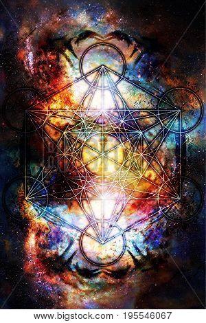 Light merkaba in cosmic space. Sacred geometry