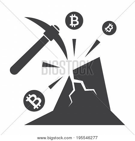 Bitcoin mining concept with pickaxe, coin and mountain