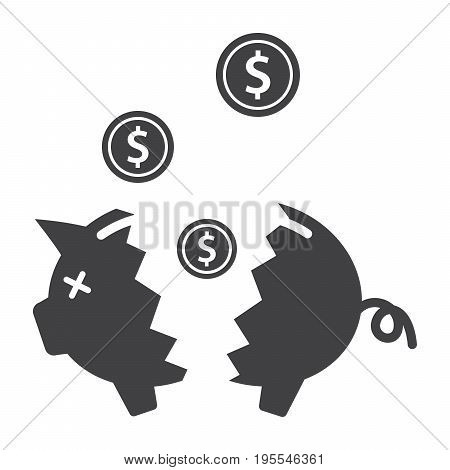 Financial crisis concept with broken piggy bank