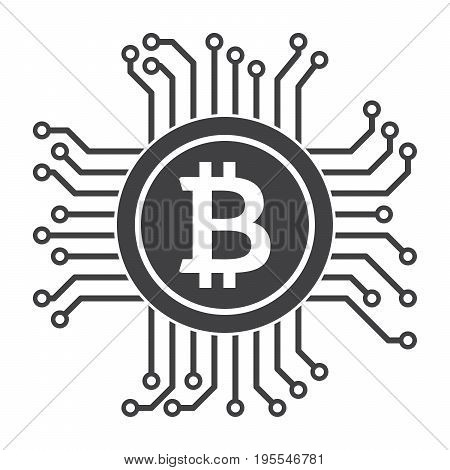 Digital money icon for bitcoin, cryptocurrency, virtual currency and ecash