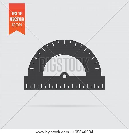 Protractor Icon In Flat Style Isolated On Grey Background.