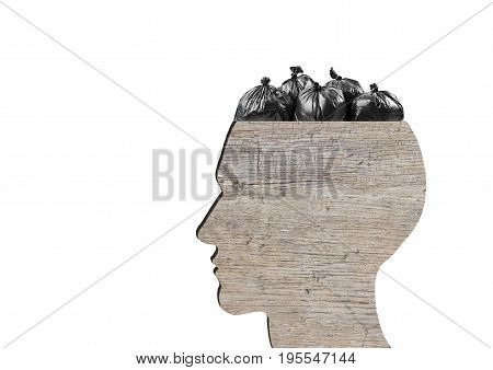 Head as wooden dustbin is full of garbage bags on white background. Garbage concept.