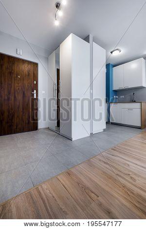 Modern interior design entrance to small apartment
