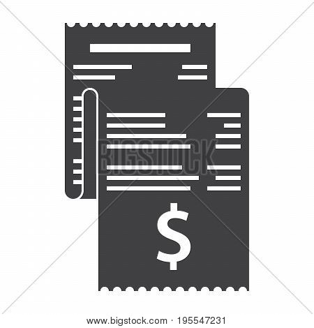 Invoice, bill icon vector silhouette on white background