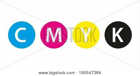 Cmyk print concept four circles in cmyk colors cyan magenta yellow key black isolated on white background