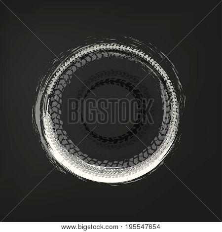 Tire track circle grunge frame. Digital vector illustration. Automotive background element useful for poster, print, flyer, book, booklet, brochure and leaflet design. Editable graphic image.