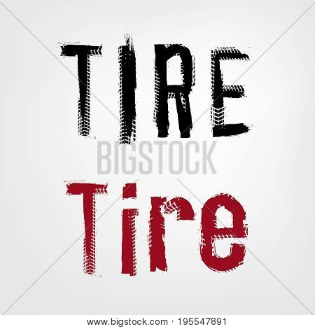 Grunge tire lettering. Unique off road isolated words in a black and red colours. Vector illustration.