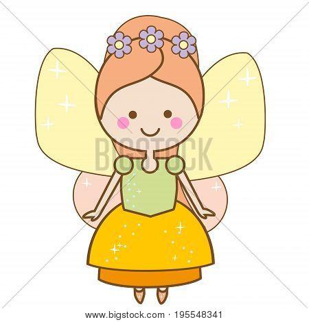 Cute kawaii fairy character. Winged pixie princess in beautiful dress. Cartoon style girls kids stickers children illustration scrapbook element