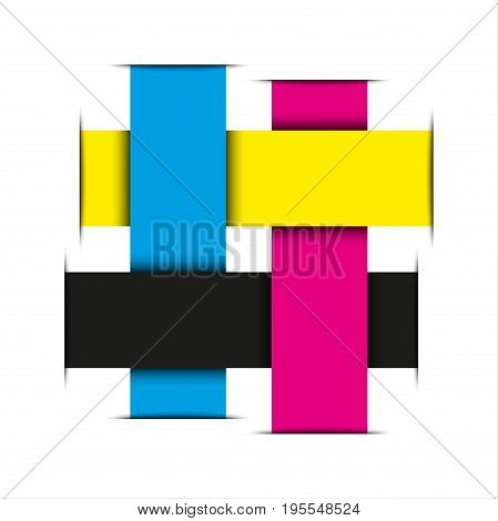 Crossed strips of paper in cmyk colors abstract vector logo isolated on white background