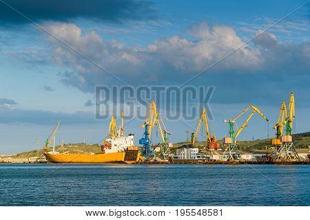 A harbor with cranes in Feodosia, Crimea