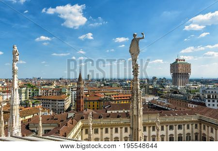 Milan skyline, Italy. View from rooftop of Milan Cathedral (Duomo di Milano).