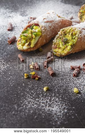 Sweet Homemade Cannoli Stuffed With Ricotta Cheese Cream And Pis