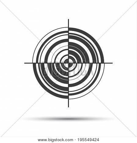 Simple gray vector pictogram in the shape of a target isolated on white background
