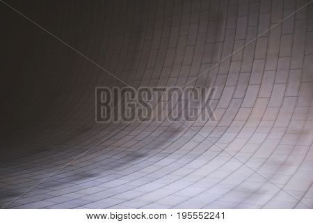 Abstract rounded concrete tile room. Unfurnished interior with copy space. Mock up 3D Rendering