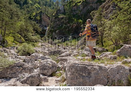 Hiker About 60 Years Old Engaged In Excursion.