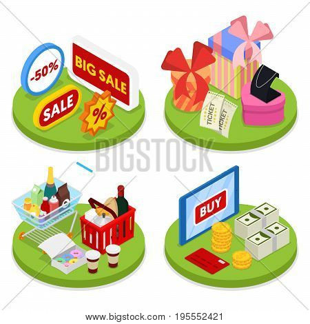 Isometric Online Shopping Concept. Mobile Payment. Electronic Business. Vector flat 3d illustration