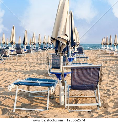 Umbrella beach for relaxing and sun set beach. Bibione Italy