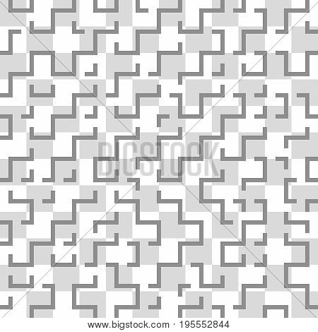 Seamless pattern of geometric shapes. A maze of lines and shapes. Corners and kinks.