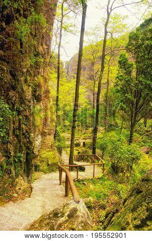 A walkway through one of the Yandangshan scenic areas in Wenzhou china in Zhejiang province.