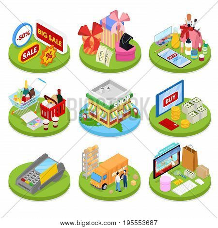 Isometric Online Shopping Concept. Mobile Payment. Internet Store. Electronic Business. Vector flat 3d illustration