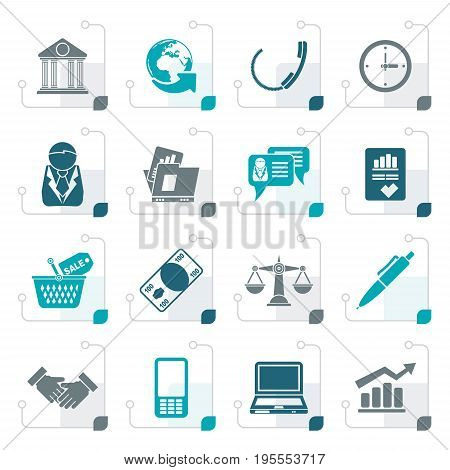 Stylized Business and office objects icons - vector icon set