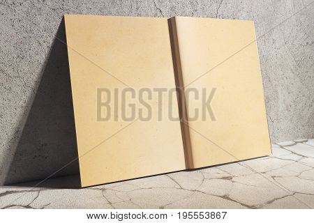 Side view of open aged hardcover diary leaning on concrete wall. Abstract supplies stationery items. Mock up 3D Rendering