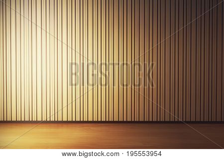 Unfurnished living room interior with blank striped wallpaper and wooden floor. Gallery exhibition concept. Mock up 3D Rendering