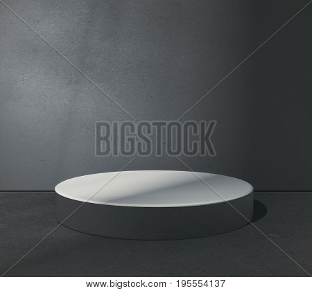 Empty round pedestal in abstract grungy concrete room. Product placement concept. Mock up 3D Rendering