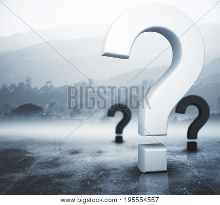 Question marks on abstract foggy gray background. Ask concept. 3D Rendering