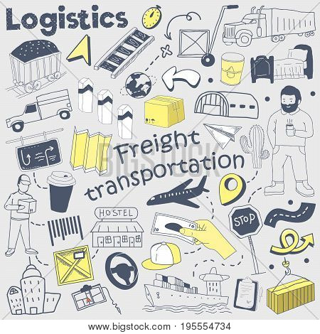 Logistics Service Hand Drawn Doodle. Delivery and Shipping Freehand Elements Set. Vector illustration