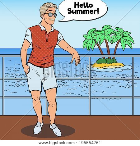Pop Art Handsome Guy Relaxing on Private Yacht. Tropical Beach Vacation. Vector illustration