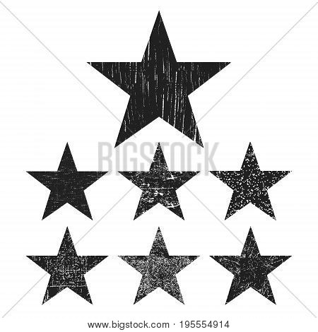 Grunge star collection. Set of black grunge stars isolated on white background. Vector illustration.