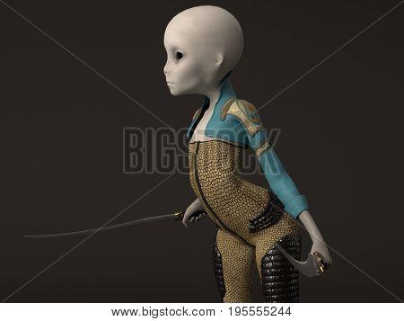 3d renderring of the alien girl wering bodysuite holding two sabers
