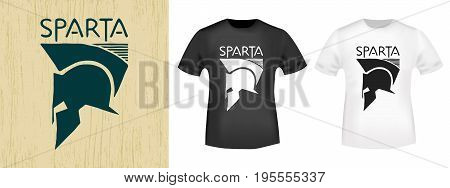 T-shirt print design. Spartan helmet vintage stamp and t shirt mockup. Printing and badge applique label t-shirts, jeans, casual wear. Vector illustration.
