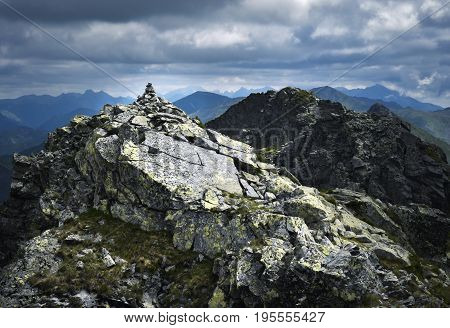 landscape background mound of granite stones in the mountains