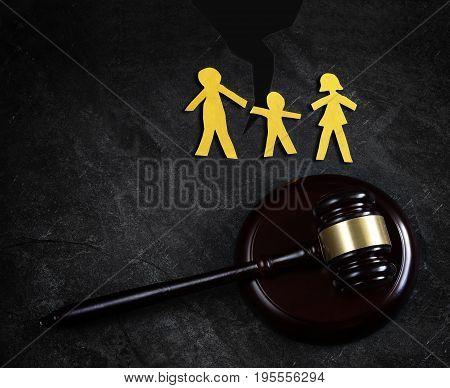 Family of three split apart and gavel