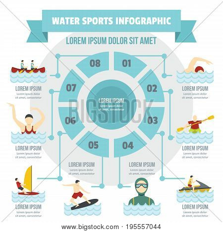 Water sport infographic banner concept. Flat illustration of water sport infographic vector poster concept for web