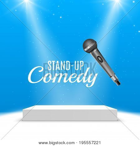 Stand up comedy event poster. Vector microphone illustration. Concert comedy show with stage.