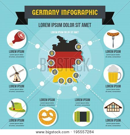 Germany infographic banner concept. Flat illustration of Germany infographic vector poster concept for web