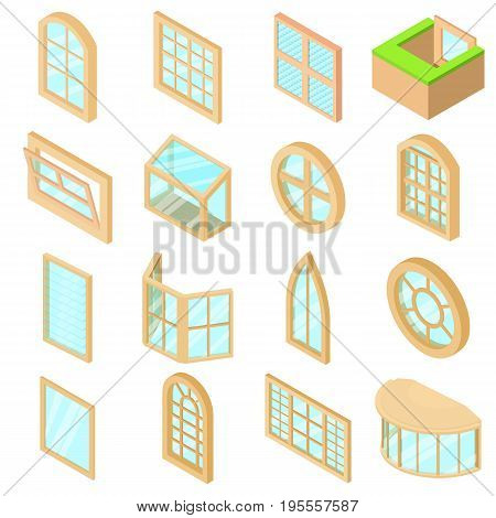 Window forms icons set. Isometric illustration of 16 window forms icons set vector icons for web